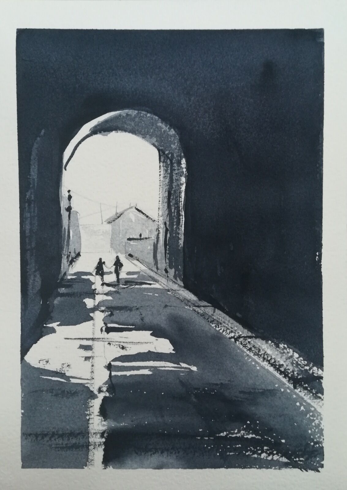 Light at the End of the Covid Tunnel ~ original watercolour. More details to follow.