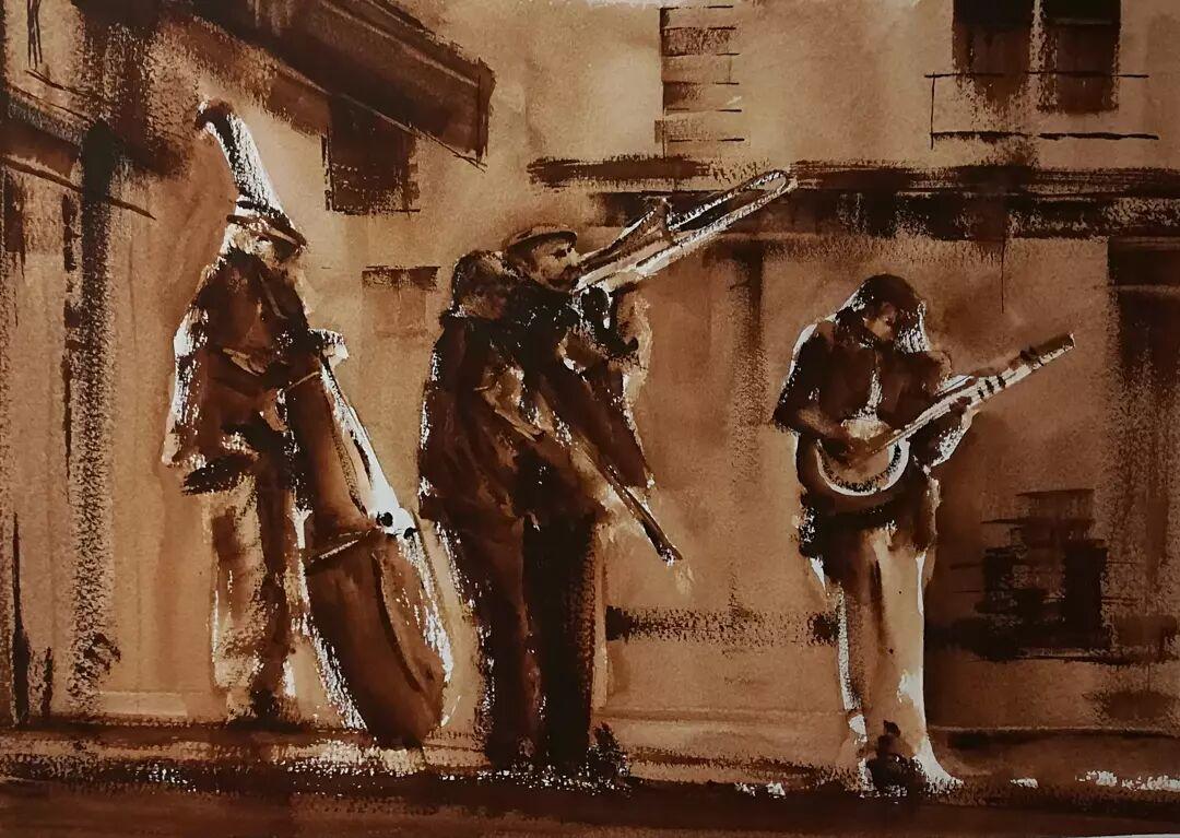 Musicians on Buci Street, Paris £185. 00