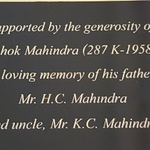 Plaque installed  in memory at Smart Class Room donated to Doon School,Dehradun,October,2017