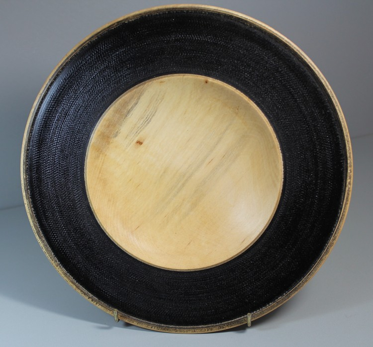 Large platter with coloured rim