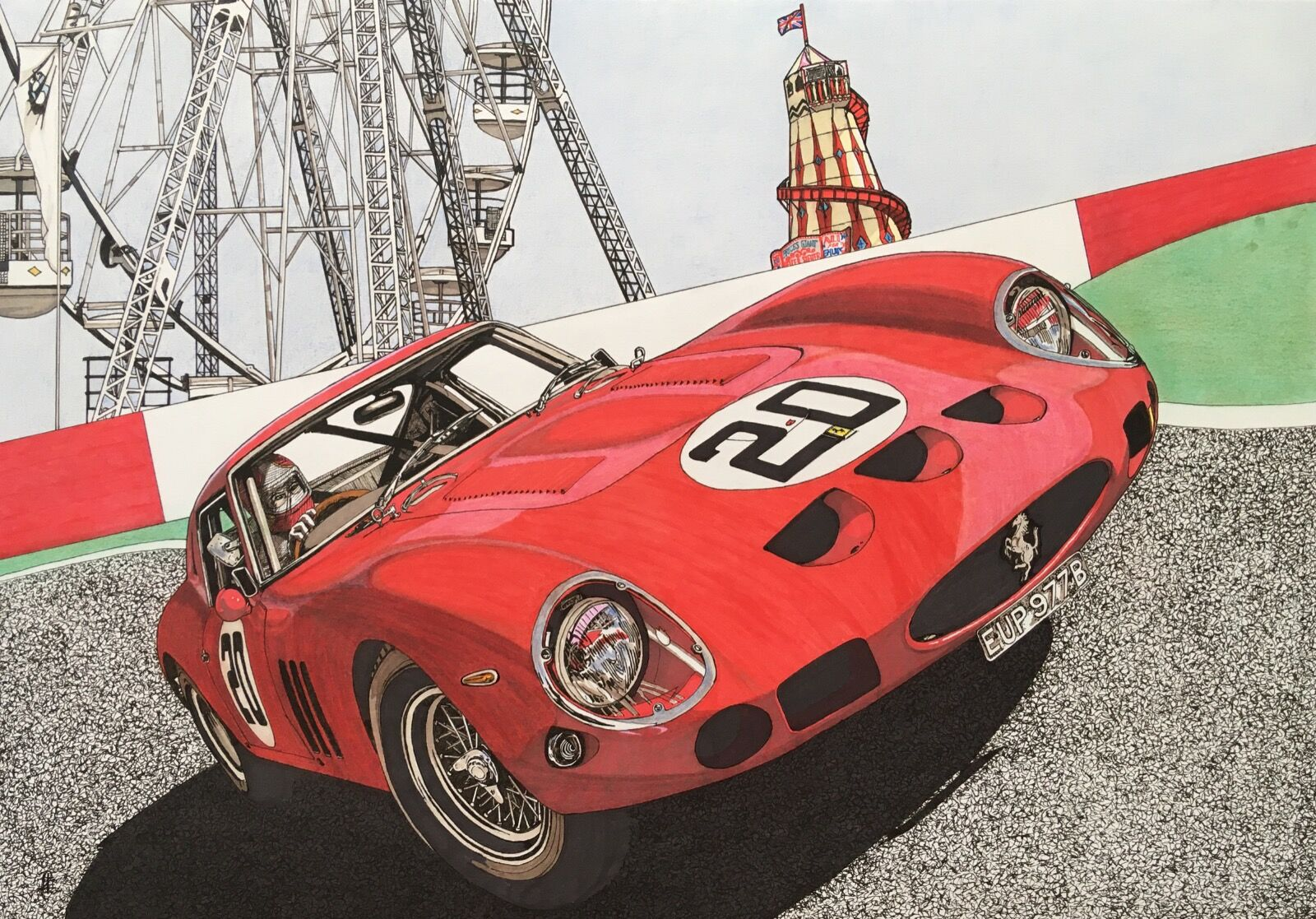 Ferrari 250 GTO at Silverstone (Size A2)