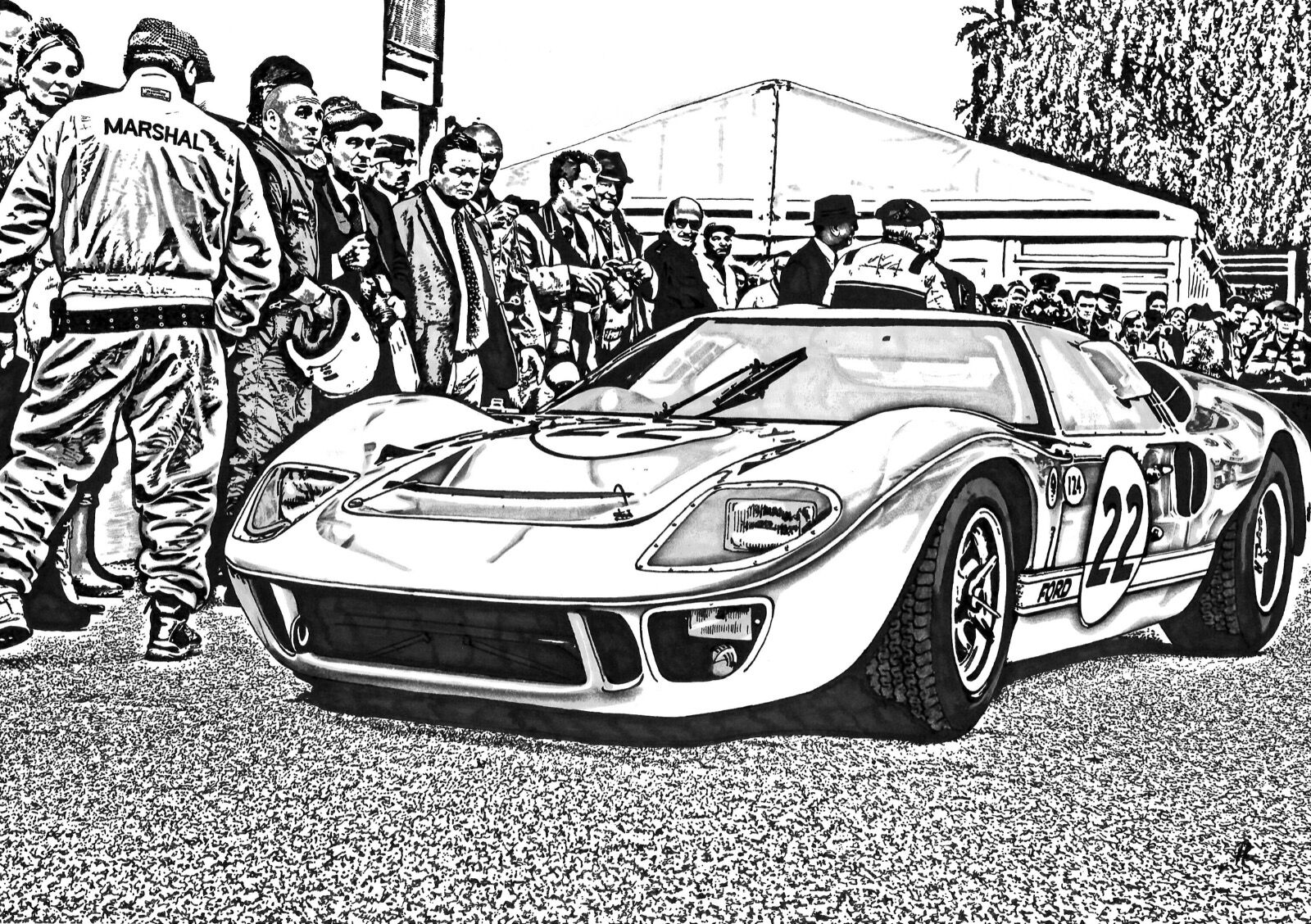 Ford GT40 - No.22 (Size A3)