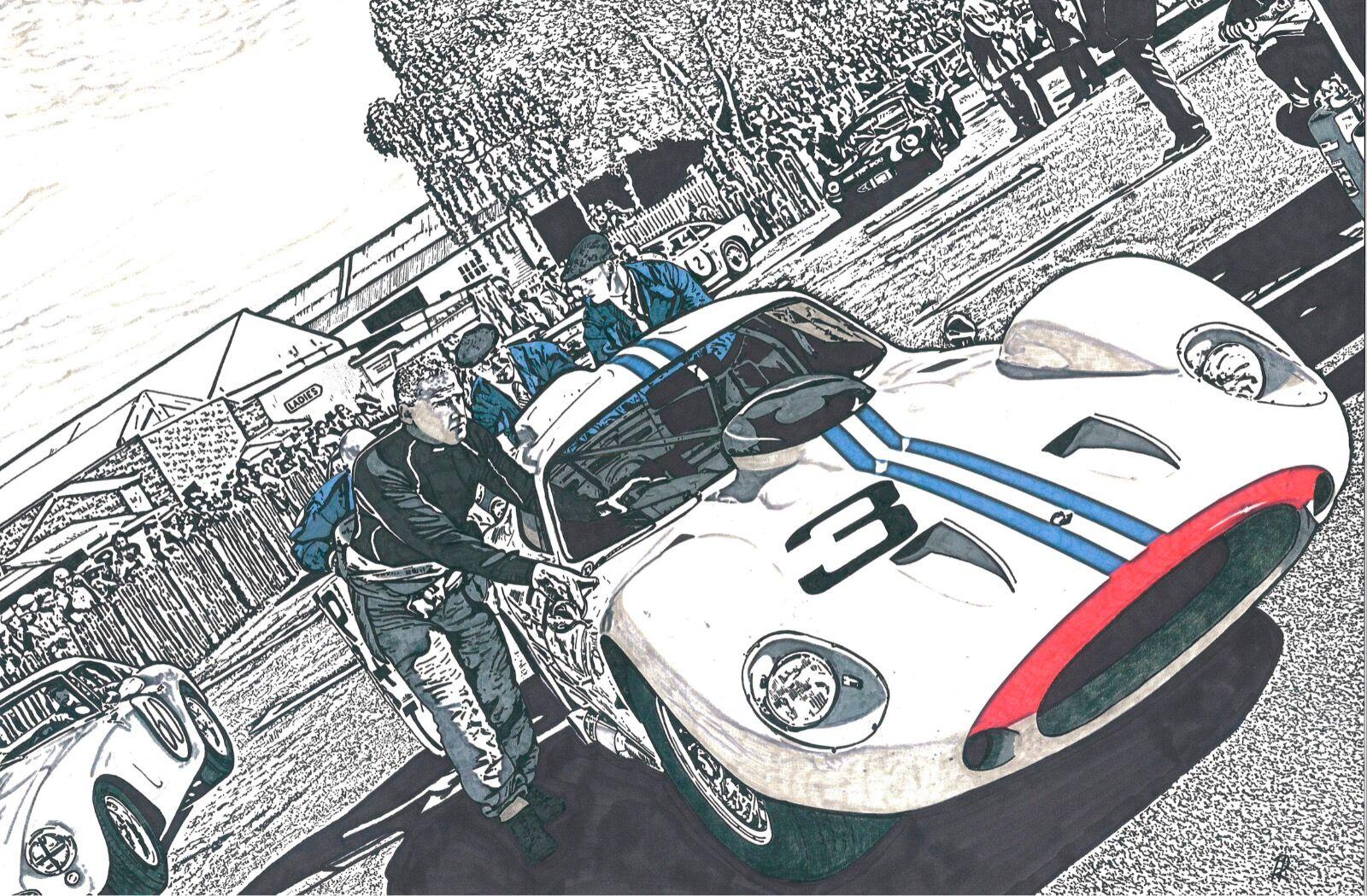 Maserati To The Start-line (Size A3)
