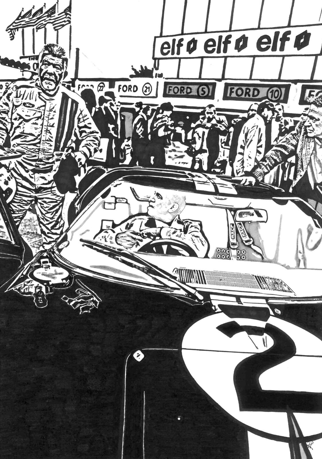 Ford GT40 No.2 - The 1966 Le Mans Winner (Size A3)