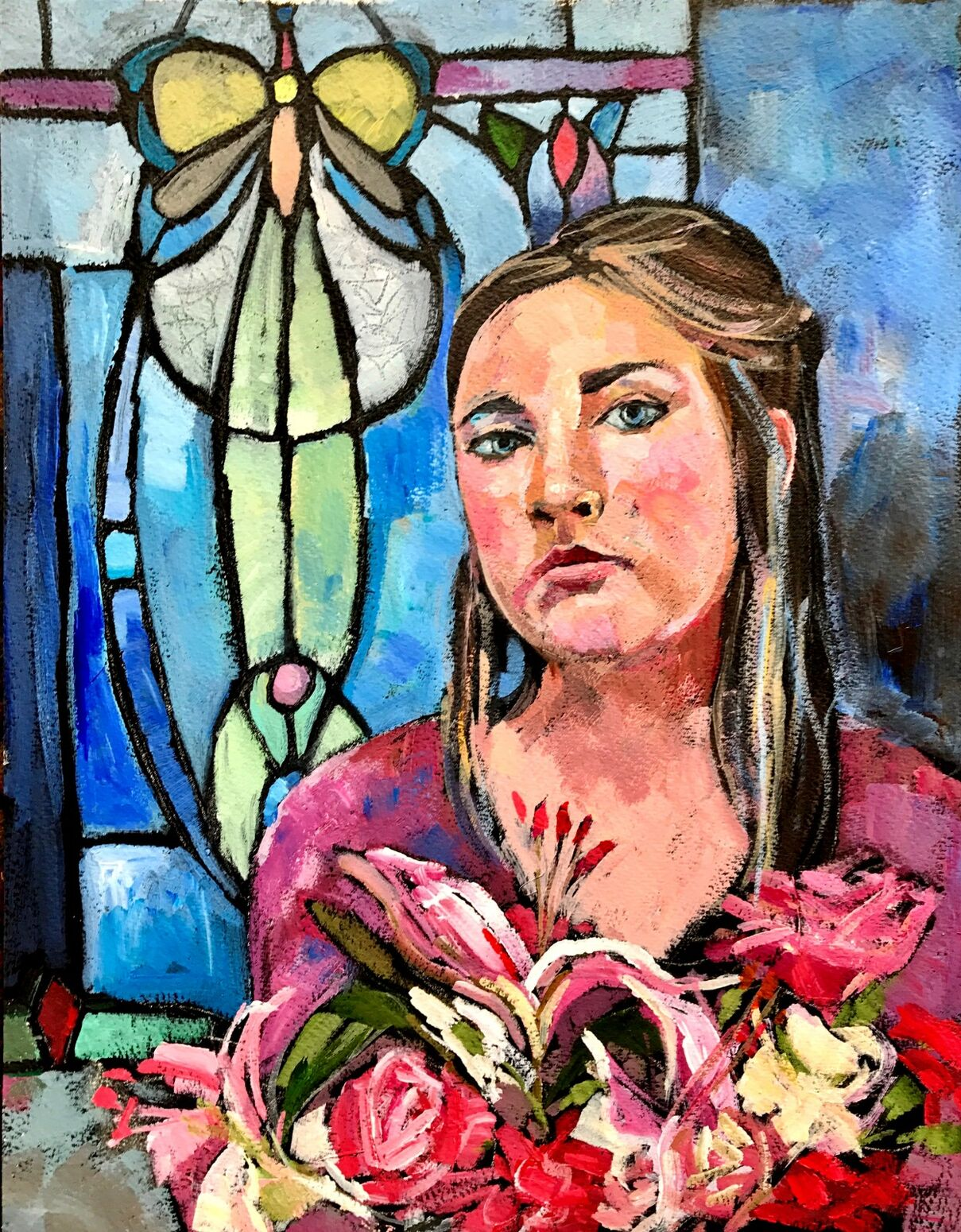 Girl in front of stainedglass window