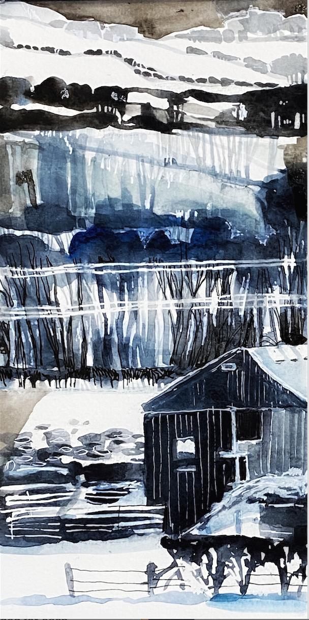farm in the snow