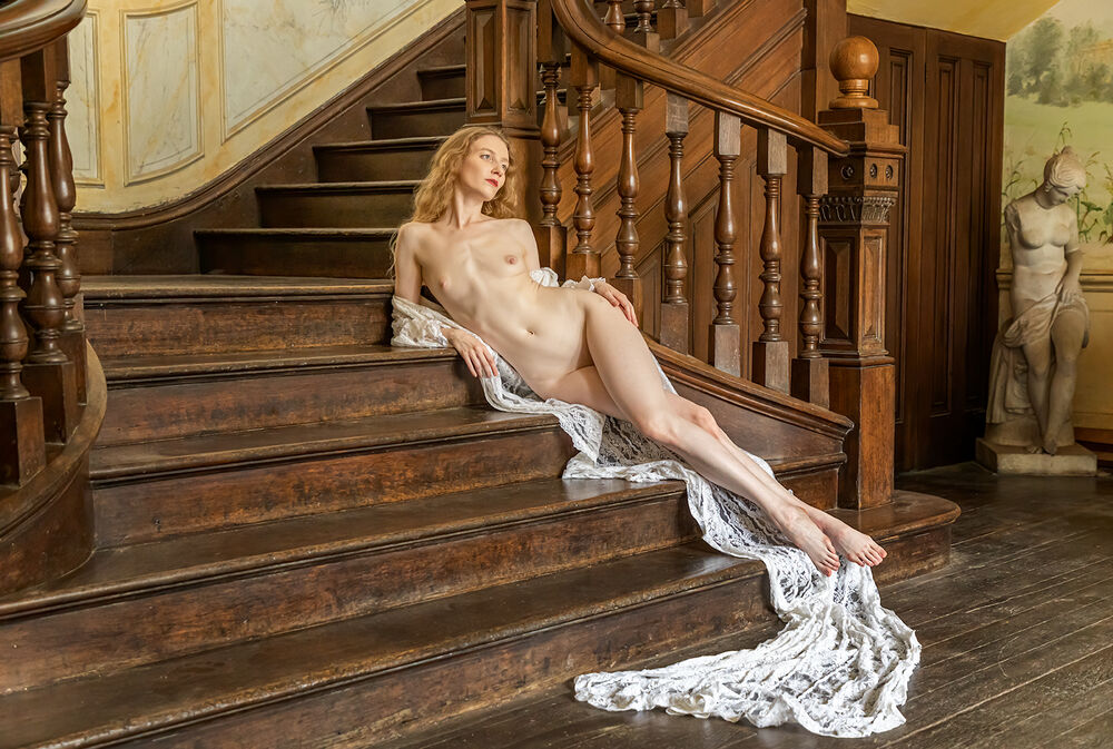 Reclining on the stairs