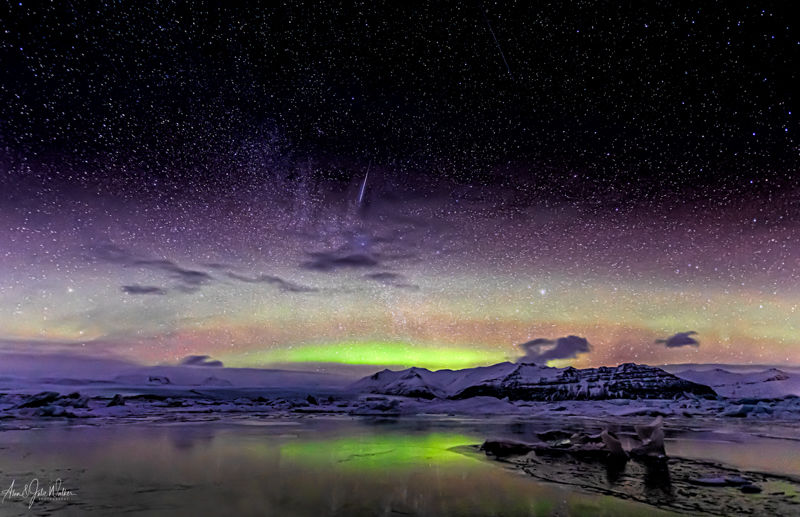 Shooting Star over Jökulsárlón Glacial Lake