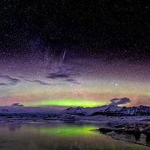 Shooting Star over Jökulsárlón Glacial Lake
