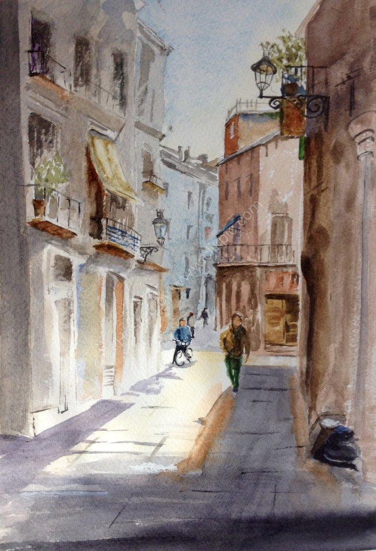Italian street scene (after Igor Sava).