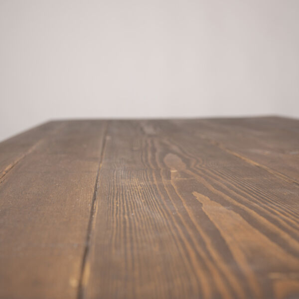 detail of wooden table top with medium oak stain and danish oil barnacle bespoke furniture