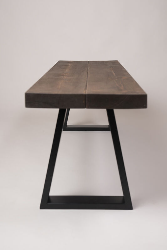 dark walnut wood stained table side view bespoke furnishings at barnacle