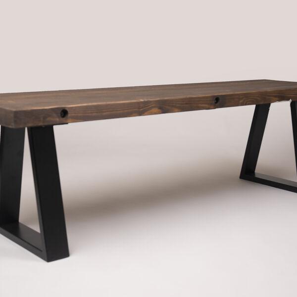 trapezium leg bench in medium oak stain barnacle bespoke furnishings