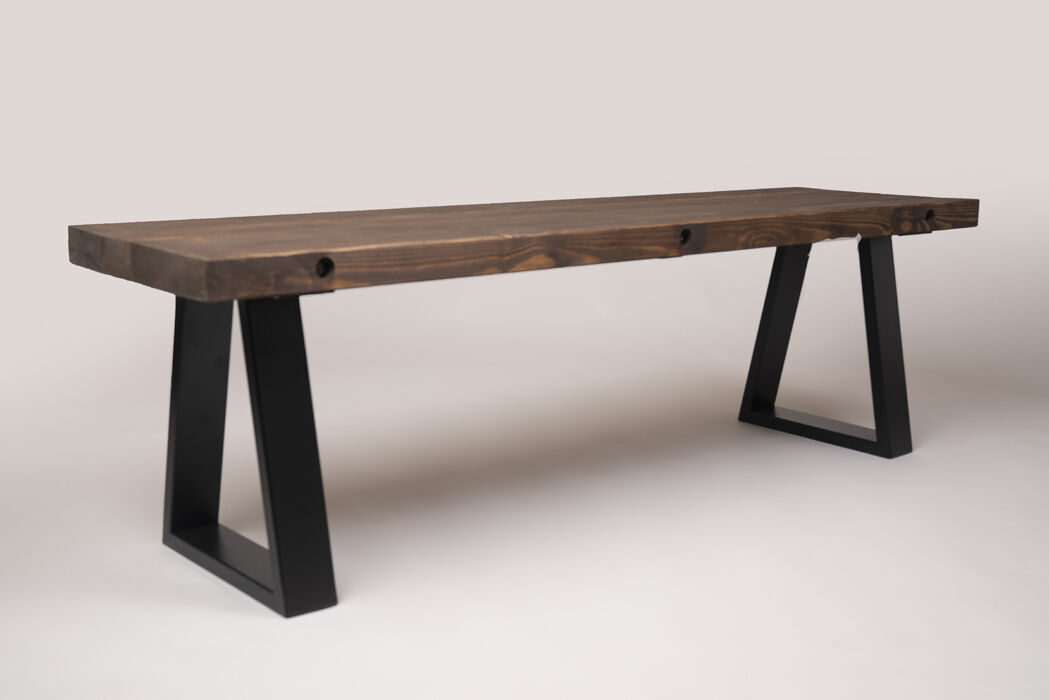 bench to match industrial table with trapezium legs