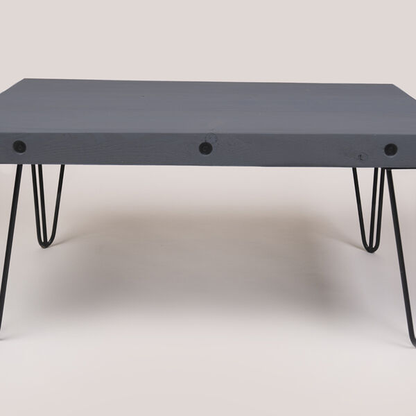 coffee table with hairpin legs in ironstone grey