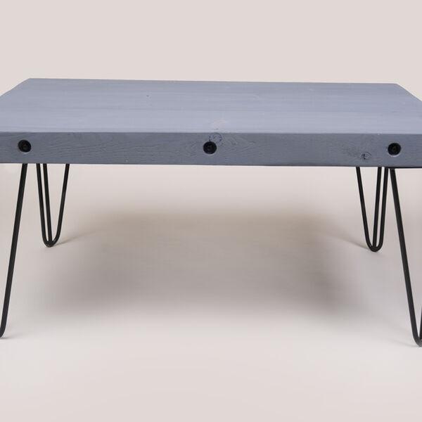 coffee Table in Moonlight Grey - Hairpin 3 bar legs