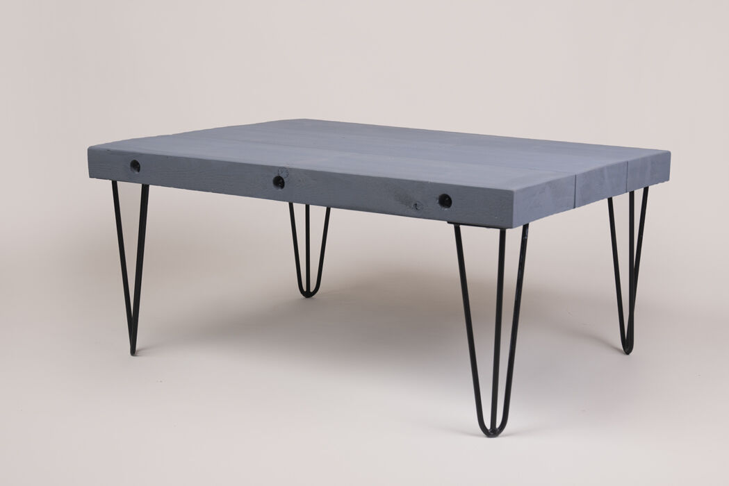 wooden coffee table with hairpin legs industrial style