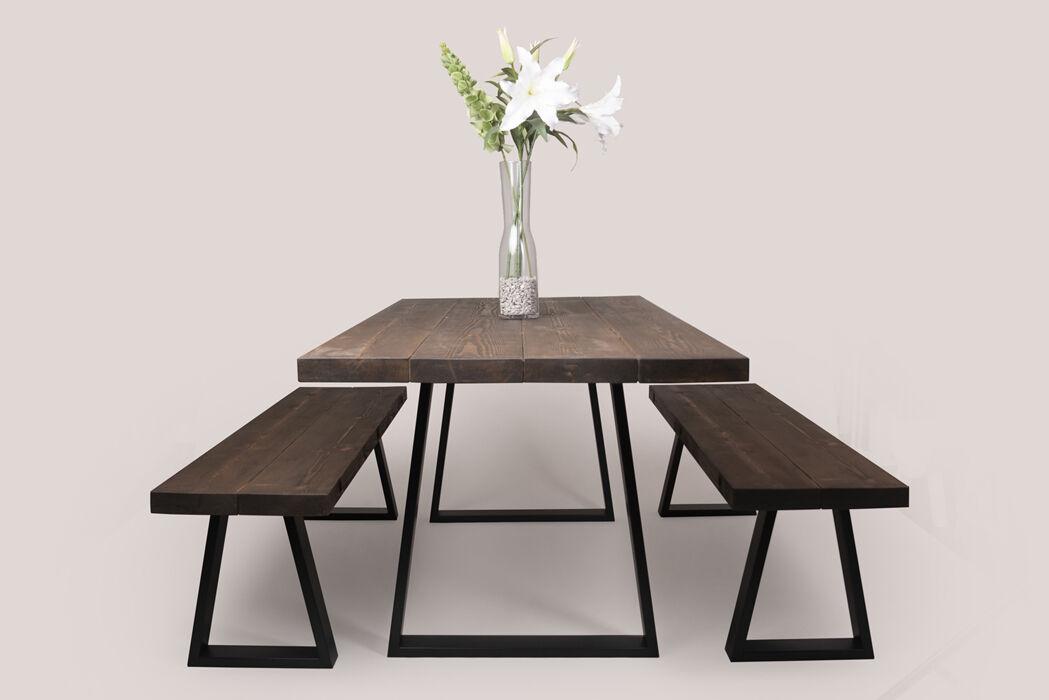 M. Oak Table & Benches - Trapezium Legs