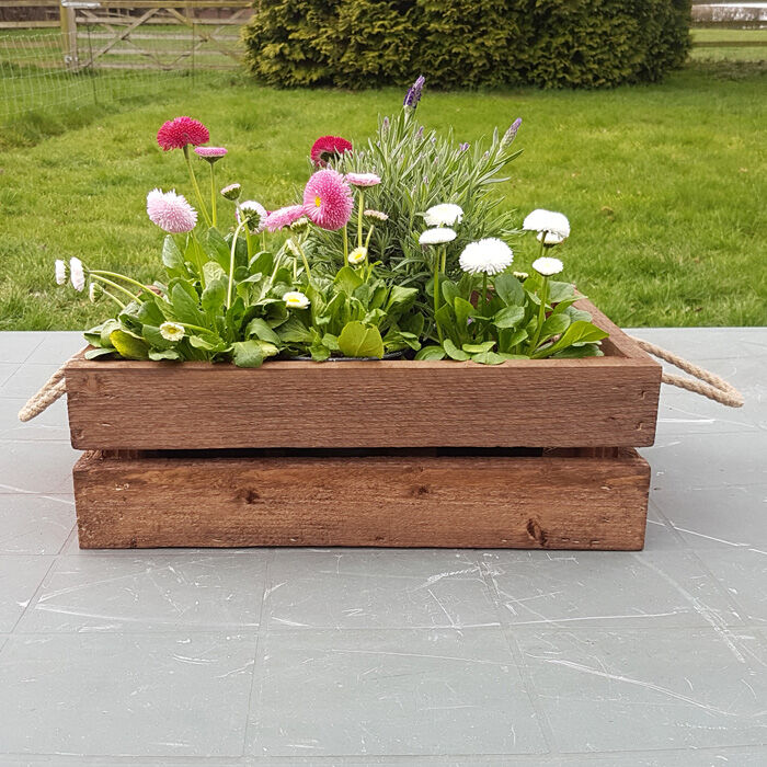 crate box for storage with rope handles