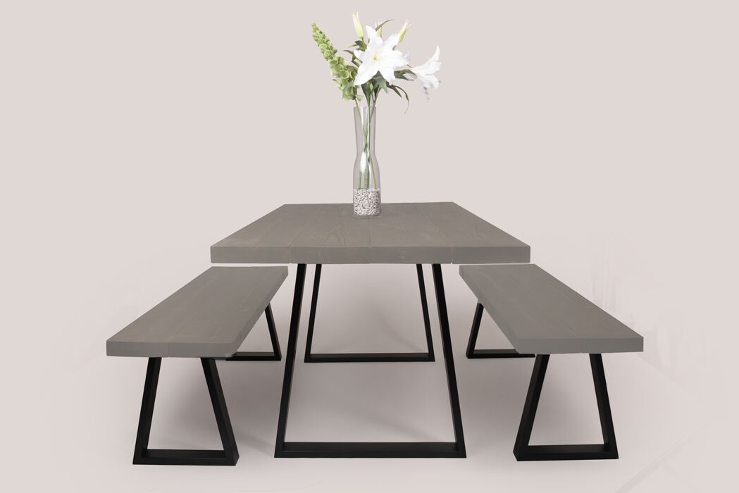 table and benches in Ironstone grey trapezium legs