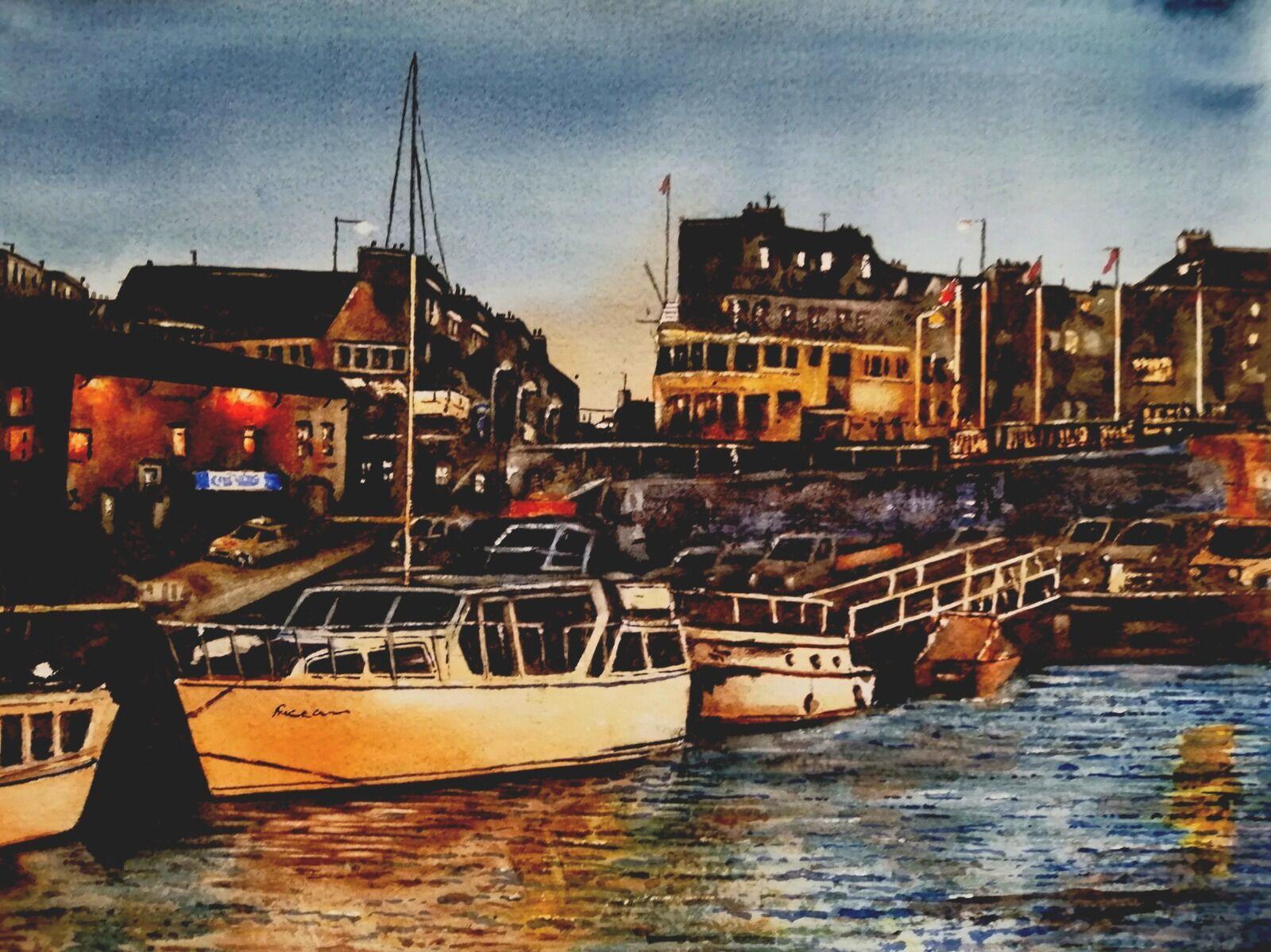 Bridlington Harbour Night Scene