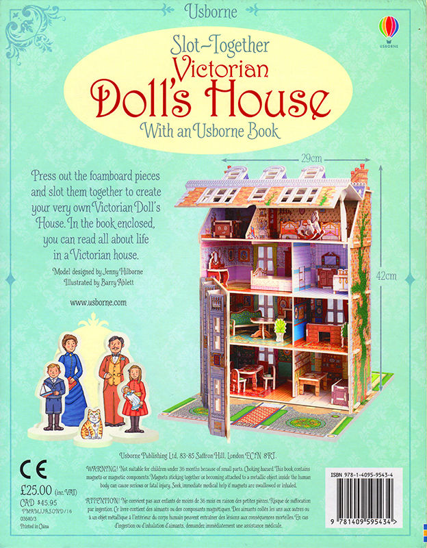 Slot Together Victorian Doll's House back cover. © Usborne Publishing.
