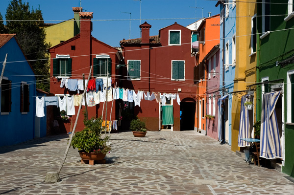 Burano Street with washing