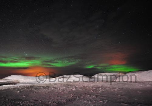 Aurora Borealis wit Psuedo craters, Lake Myvatyn,Iceland.