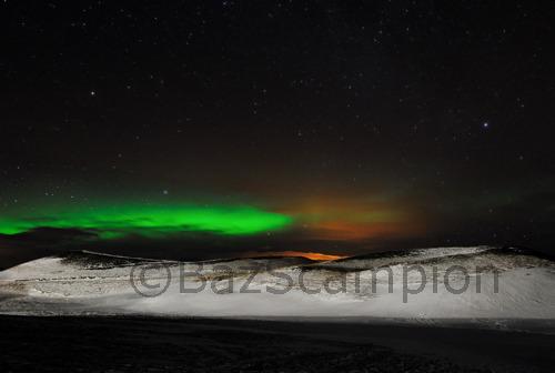 Aurora Borealis, Pseudo craters. Lake Myvatn. Iceland.
