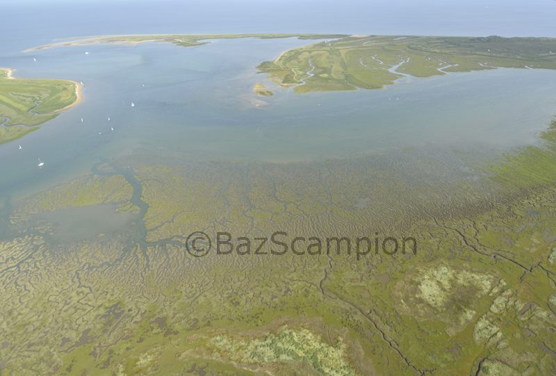 Aerial view of Brancaster Harbour North Norfolk
