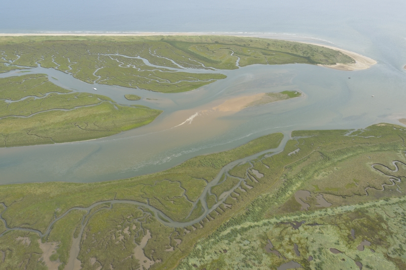 Aerial view of Burnham Overy Harbour the East end of Scolt Head Island