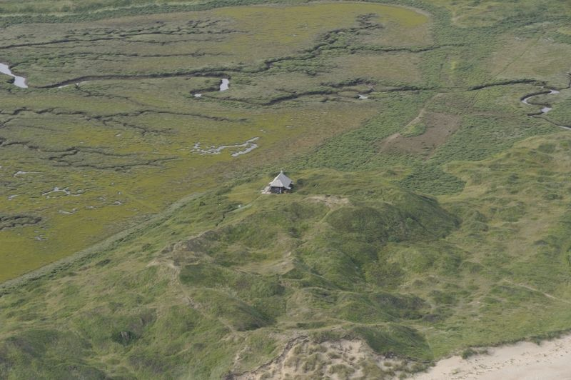 Aerial view of the Hut and Hut Hills on Scolt Head Island