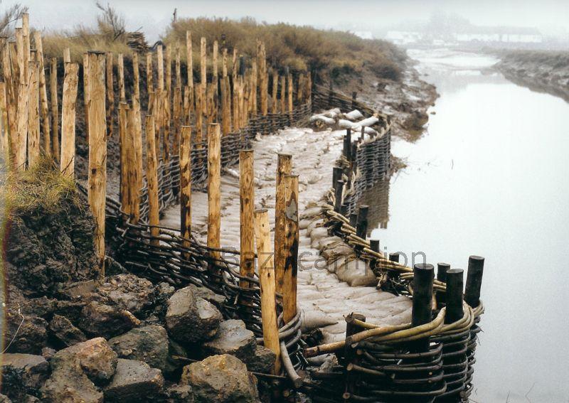 Erosion control in progress Burnham Overy Staithe