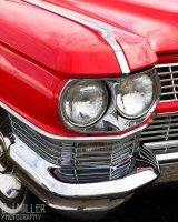 Red Car Headlight Detail