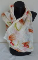 (NF7)£30 White nuno felt scarf with earthy colours