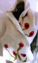 (NF11) £33.00 White merino wool felted scarf with poppy decoration
