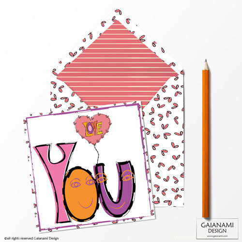 'Love You' Funky Greeting Card in contemporary hand drawn style