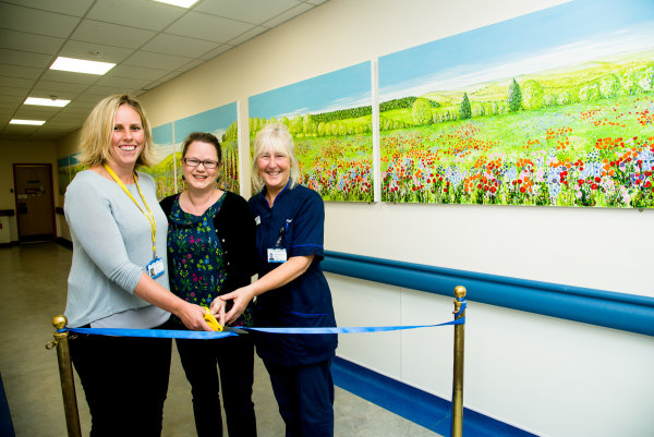 Cutting the ribbon at the official opening of ward F14 frimley Park Hospital