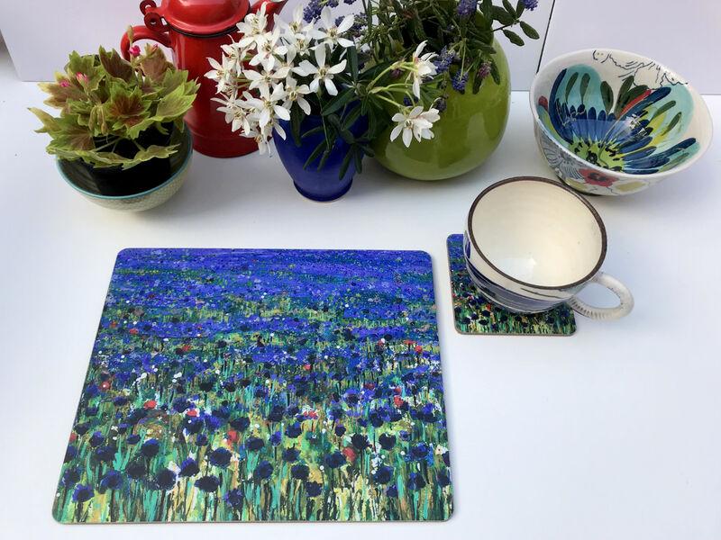 Rectangular Matt finish Cornflower blue Table mats