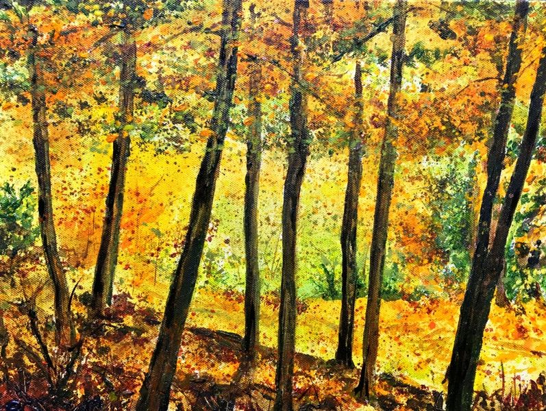 Becca Clegg Autumn Trees painting Leith Hill