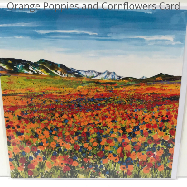 Orange Poppies and cornflowers mountains