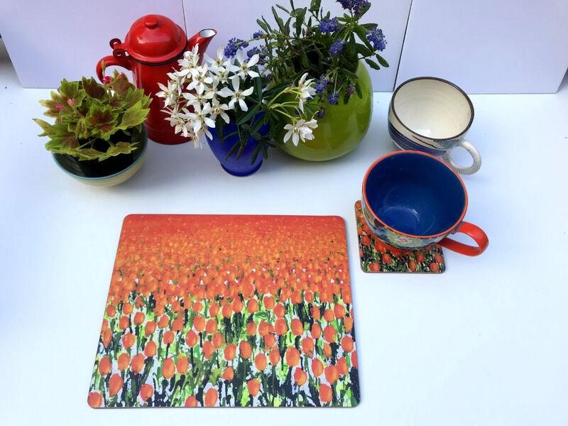 Rectangular Matt finish Original Orange Tulips Table mats