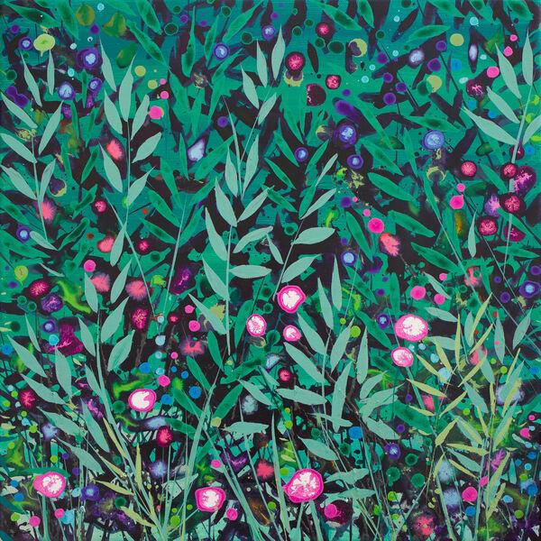 Cromer Grasses Teal Gree Pink wildflowers