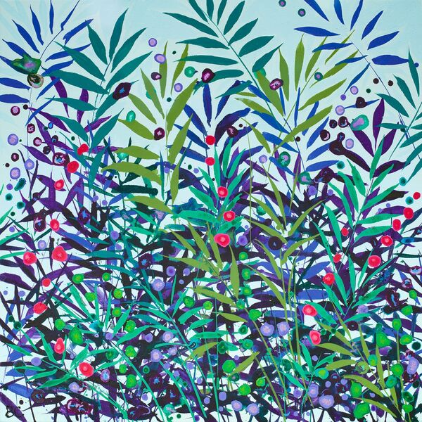 Cromer Grasses Turquoise Green Pink wildflowers sky blue
