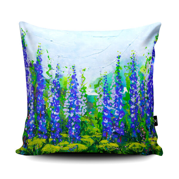 Becca Clegg Delphiniums on the Hill Cushion