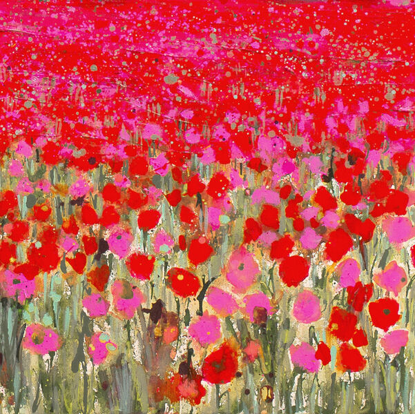 Large Pink Poppyfield Detail card