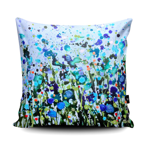 Becca Clegg Turquoise Dancing Flowers Cushion