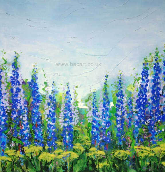 Delphiniums on the Hill card