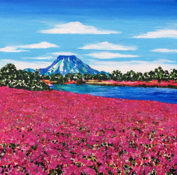 Mount Fuji with Pink Phlox
