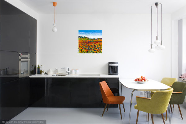 Orange Poppies and Cornflowers Print in imaginary Kitchen setting